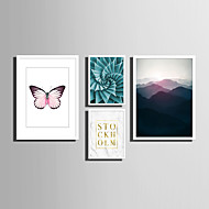 Landschap Bloemenmotief/Botanisch Dier Woorden & Quotes Ingelijst canvas Ingelijste set Muurkunst,PVC Materiaal Wit Zonder passepartout