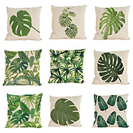 cheap Throw Pillows-9 pcs Linen Pillow Case Pillow Cover, Solid Colored Textured Tropical Beach Style