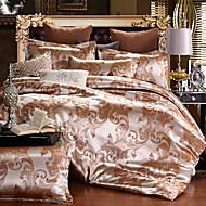 Duvet Cover Sets Floral 4 Piece Silk/Cotton Blend Jacquard Silk/Cotton Blend 4pcs (1 Duvet Cover, 1 Flat Sheet, 2 Shams)