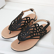 cheap Women's Sandals-Women's Shoes Fleece PU Summer Comfort Slingback Light Soles Sandals Walking Shoes Flat Heel Open Toe Buckle Flower Zipper Tassel for