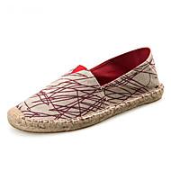 Unisex Mocasini & Balerini Primăvară Vară Toamnă Espadrile Pantofi de cuplu Pânză Outdoor Birou & Carieră Casual Toc Plat GăuriRoșu