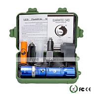 billige -U'King LED Lommelygter LED 2000 lm 5 Tilstand Cree XM-L T6 med batteri og opladere Zoombar Justerbart Fokus Dæmpbar