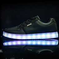 tanie Obuwie dziewczęce-Dla dziewczynek Obuwie PU Wiosna Wygoda / Nowość / Świecące buty Adidasy LED na Biały / Czarny