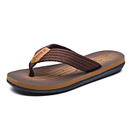 baratos Sapatos Masculinos-Homens Couro Ecológico Verão Chanel Chinelos e flip-flops Caminhada Vestível Cinzento / Castanho Claro