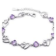 Mulheres Pulseiras em Correntes e Ligações Cristal Básico Amor Moda bijuterias Prata de Lei Cristal Jóias Jóias Para Casamento Festa