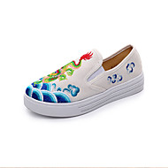 Women's Loafers & Slip-Ons Spring Summer Fall Winter Comfort Canvas Outdoor Athletic Casual Flat Heel Black Blue Red White