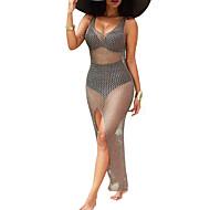 Γυναικεία Αργίες Παραλία Πολύ στενό Εφαρμοστό Φόρεμα - Μονόχρωμο, Δίχτυ Σκίσιμο Μακρύ / Σούπερ Σέξι