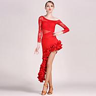 hesapli Müzik ve Dans-Latin Dansı Kıyafetler Kadın's Eğitim / Performans Dantelalar / Tül Drape Uzun Kollu Top / Etek