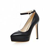 baratos Sapatos de Tamanho Pequeno-Mulheres Sapatos Courino / Couro Ecológico Primavera / Verão Conforto / Inovador Saltos Caminhada Salto Agulha Dedo Apontado Presilha