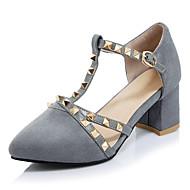 baratos Sapatos de Tamanho Pequeno-Feminino Sapatos Courino Primavera Verão Outono Inverno D'Orsay Saltos Salto Grosso Dedo Apontado Miçangas Presilha Vazados Para Casual