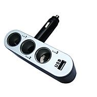 12V 24v 3 způsoby 2 USB nabíječka do auta triple zapalovač na mobilním telefonu pro Auto DVR kamera pro GPS