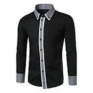 Camisa Social Casual Simples Todas as Estações,Estampa Colorida Azul Branco Preto Algodão Colarinho de Camisa Manga Longa