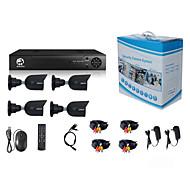 billige DVR-Sett-jooan® sikkerhetssystem 4 x 720p værbestandig tvi kamera og 1080n 8ch DVR opptaker støtte ahd / tvi / cvi / cvbs