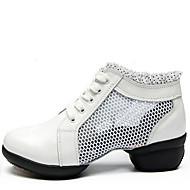 billige Moderne sko-Dame Moderne sko Lær / Tekstil Joggesko / Splitt såle Blondesøm Lav hæl Kan ikke spesialtilpasses Dansesko Hvit / Svart / Rød
