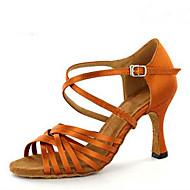 levne Taneční obuv-Dámské Boty na latinskoamerické tance / Boty na jazzové tance / Boty na salsu Satén Sandály / Podpatky Flitry / Přezky Na zakázku Obyčejné