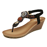 baratos Sapatos Femininos-Mulheres Sapatos Couro Ecológico Primavera / Verão Conforto / Inovador Sandálias Caminhada Salto Plataforma Elástico Preto / Amêndoa