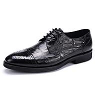 Herre sko Lær Vår Sommer Høst Vinter Bullock sko Oxfords Snøring Til Bryllup Avslappet Fest/aften Svart kaffe Burgunder