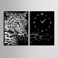 E-Home® Leopard Clock In Canvas 2Pcs Home Furnishing Decoration