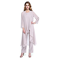 cheap -Jumpsuits / Pantsuit Scoop Neck Ankle Length Chiffon Mother of the Bride Dress with Pleats by LAN TING BRIDE® / Wrap Included