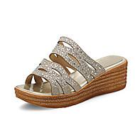 tanie Small Size Shoes-Damskie Obuwie Brokat Materiał do wyboru Wiosna Lato Comfort Klub Buty Sandały Koturn Creepersy Buty z wystającym palcem Odsłonięte palce