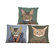 cheap Throw Pillows-Set of 3 Meow star people  pattern  Linen Pillowcase Sofa Home Decor Cushion Cover