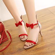 baratos Sapatos Femininos-Mulheres Sapatos Couro Ecológico Primavera / Verão / Outono Sandálias Salto Agulha Peep Toe Laço Preto / Vermelho / Verde / Festas & Noite / Festas & Noite