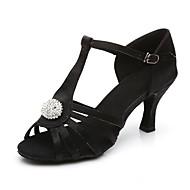 Χαμηλού Κόστους Παπούτσια χορού-Γυναικεία Παπούτσια χορού λάτιν Σατέν Πέδιλα / Τακούνια Αγκράφα Προσαρμοσμένο τακούνι Εξατομικευμένο Παπούτσια Χορού Μαύρο / Καφέ