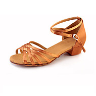 Women's Kids' Latin Lace Satin Synthetic Flat Sandal Sneaker Indoor Ribbon Tie Ruched Flower Low Heel Gold Black Silver Almond Leopard