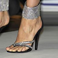 샌들-드레스 캐쥬얼 파티/이브닝클럽 신발-플리스-스틸레토 굽-블랙