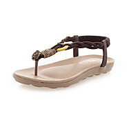 baratos Sapatos Femininos-Mulheres Sandálias de calcanhar plano Couro Ecológico Verão Chanel Sandálias Salto Baixo Dedo Aberto Tira Trançada Branco / Preto / Castanho Claro