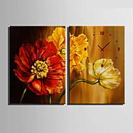 billige Veggklokker-Moderne / Nutidig Blomst / Botanikk Veggklokke,Rektangulær Lerret35X50cm(14inchx20inch)x2pcs/ 40 x 60cm(16inchx24inch)x2pcs/ 50 x