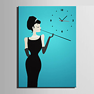 E-HOME® Smoking Woman Clock in Canvas 1pcs