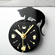 estilo de tempo de lazer mensagem ímãs relógio gato geladeira postou retirada relógio ima relógios de parede mute