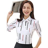 Veći konfekcijski brojevi Bluza Žene Rad Prugasti uzorak Kragna košulje