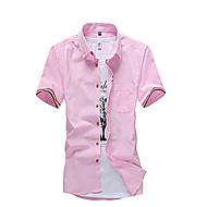 男性 カジュアル/普段着 夏 シャツ,シンプル シャツカラー ソリッド ブルー ピンク レッド ホワイト コットン 半袖 ミディアム