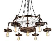 Χαμηλού Κόστους Φωτιστικά Οροφής-7-επικεφαλής vintage ξύλινο εργαλείο μενταγιόν φώτα δημιουργική βιομηχανική λάμπα σαλόνι εστιατόριο μπαρ ρούχα διακόσμηση διακόσμηση φως
