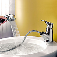 Modern Centerset Pullout Spray With Ceramic Valve Single Handle One Hole For Chrome Bathroom Sink