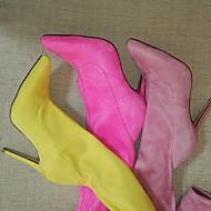 baratos Sapatos Femininos-Mulheres Sapatos Tecido Inverno Botas da Moda / botas de desleixo Botas Salto Agulha Dedo Apontado Ziper Verde / Azul / Vinho / Casamento