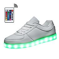 tanie Obuwie damskie-Damskie Buty LED Syntetyczny Wiosna / Jesień Świecące buty Tenisówki Okrągły Toe Szurowane / LED Biały / Czarny