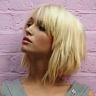 Naisten Ihmisen hiukset Capless Peruukit Medium Auburn Keltainen Beige Blonde // Bleach Blonde Keskikokoinen Suora Bob-leikkaus