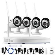 billige Trådløst CCTV System-annke® 4ch cctv system trådløs 960p nvr 4pcs 1.3mp ir utendørs p2p wifi ip cctv kamera