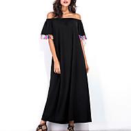 Žene Širok kroj Haljina Jednobojni Lađa izrez Maxi