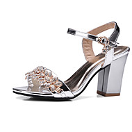 Women's Sandals Summer Fall Club Shoes PU Wedding Office & Career Dress Chunky Heel Rhinestone Buckle