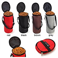 ネコ 犬 餌入れ/水入れ ペット用 ボウル&摂食 携帯用 折り畳み式 ブラック グレー コーヒー レッド