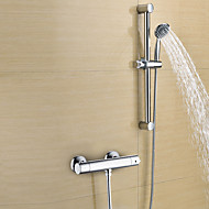 cheap Shower Faucets-Contemporary Shower Only Widespread Handshower Included Thermostatic Brass Valve Two Holes Two Handles Two Holes Chrome, Shower Faucet
