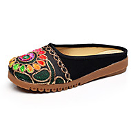Feminino-Sandálias-Conforto Chanel-Rasteiro-Preto Vermelho-Tecido-Casual