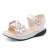 billige -60%-Jente sko PU Vår Sommer Sko til blomsterpiker Sandaler Blomst Magisk teip til Bryllup Avslappet Formell Fest/aften Hvit Rosa