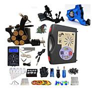 Kompletní Tattoo Kit 2 x rotační tetovací strojek pro linky a stínování 1 x tetovací strojek pro linky a stínování z litiny 3Tetovací