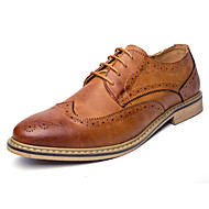 billige Skosalg-Herre sko Lær Vår Høst Komfort Bullock sko Oxfords Gange Snøring Til Avslappet Fest/aften Svart Grå Brun