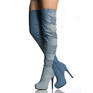 baratos Sapatos Femininos-Mulheres Sapatos Tecido Outono / Inverno Conforto / Inovador / Botas Cowboy / Country Botas Caminhada Salto Agulha Ponta Redonda Ziper